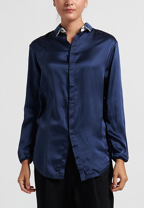 Umit Unal Relaxed Silk Blouse in Navy