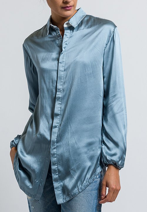 Umit Unal Relaxed Silk Blouse in Ice