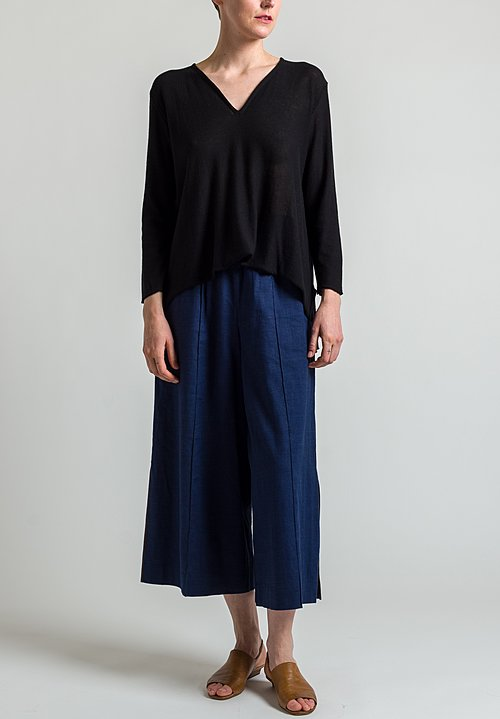 Shi Cashmere Silk/ Cashmere Top in Black
