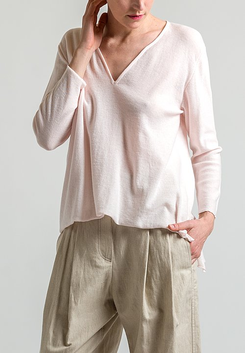 Shi Cashmere Silk/ Cashmere Top in Pink