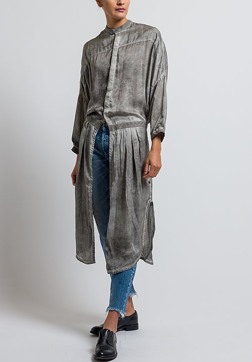 Umit Unal Silk Button-Down Tunic in Steel