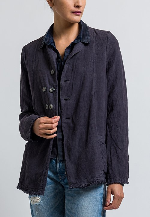 Umit Unal Frayed Edge Jacket in Dark Grey