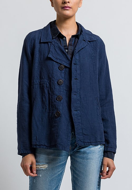 Umit Unal Linen Button Jacket in Navy