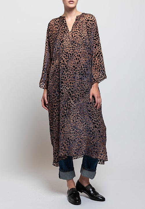 Shi Cashmere Devore Printed Kaftan Dress in Tigar/ Brown
