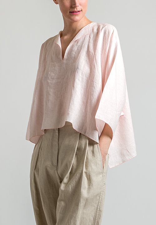 Shi Cashmere Short Linen Top in Pale Pink