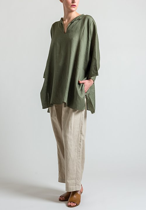 Shi Cashmere Long Linen Top in Military Green