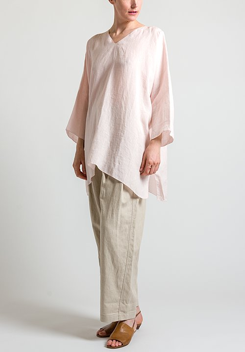 Shi Cashmere Long Linen Top in Pink