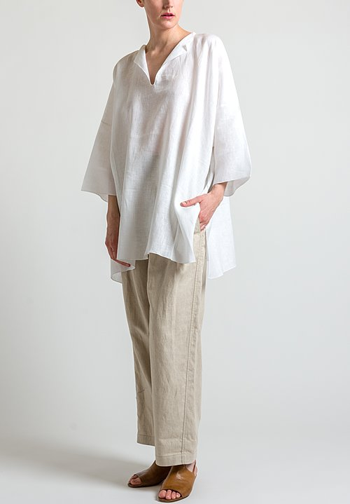 Shi Cashmere Long Linen Top in White