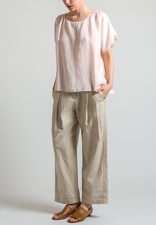 Shi Cashmere Oversized Linen Top in Pink