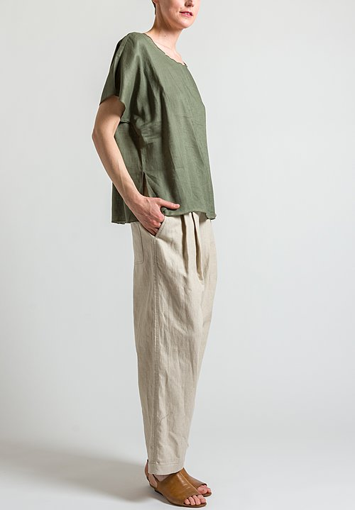 Shi Cashmere Oversized Linen Top in Military Green