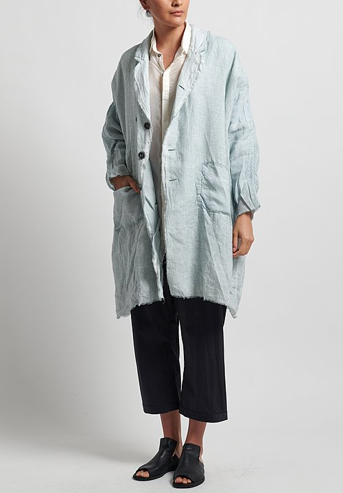 Umit Unal Long Frayed Edge Jacket in Icy Blue