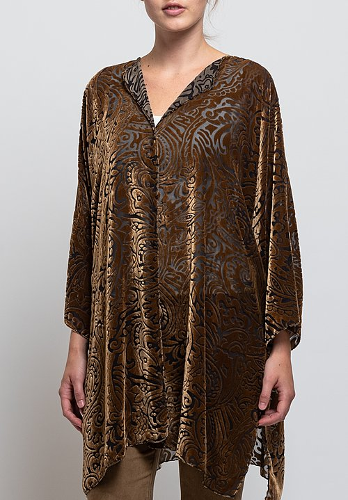Shi Cashmere Silk Devore Jacket in Gold
