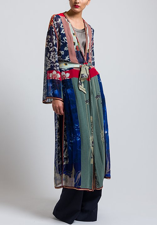 Etro Runway Long Pacific Print Duster in Blue