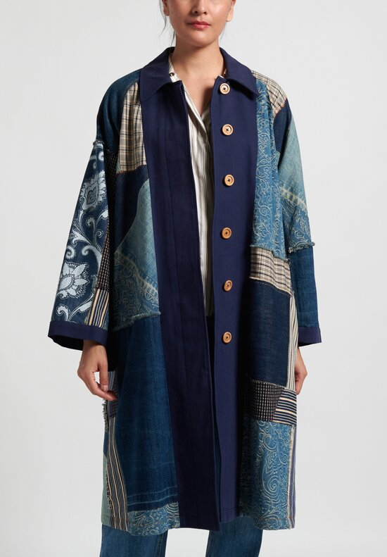 Etro Runway Patchwork Coat in Indigo