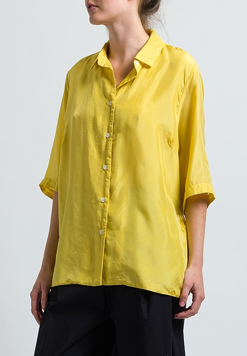 Casey Casey Silk Habotai Shirt in Yellow