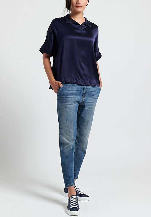 Casey Casey Crepe Summer Top in Navy