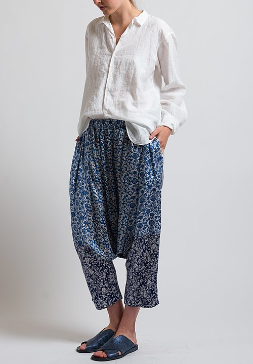 Casey Casey Silk Floral Print Pants in Blue