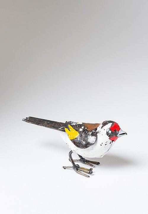 Hand-Painted Recycled Metal Small European Goldfinch Bird