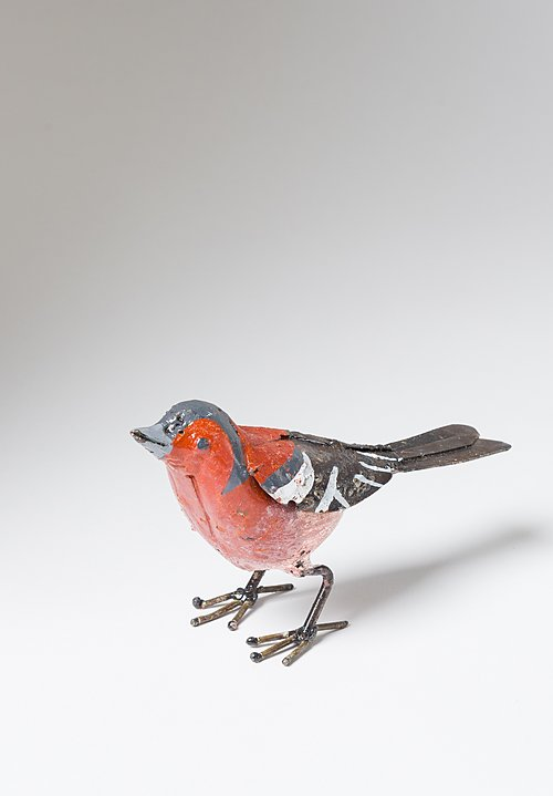 Hand-Painted Recycled Metal Small Purple Finch Bird