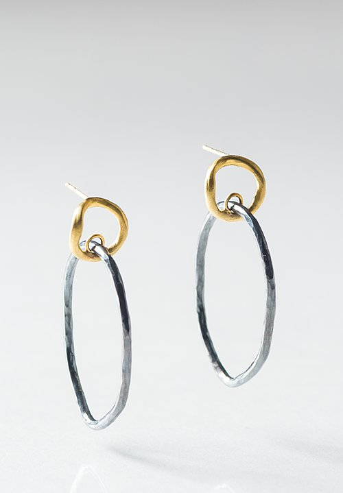 Lika Behar 24K, Oxi. Silver, Reflections Double Circle Earrings