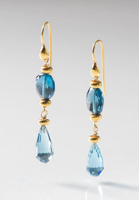 Greig Porter 18K, L.B. Topaz Faceted Teardrop Earrings