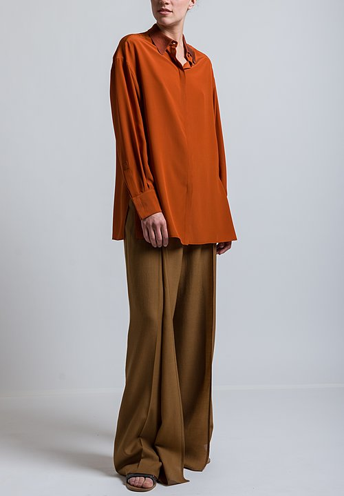 Agnona Relaxed Silk Blouse in Rust