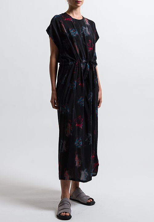 Anntian Silk Simple Printed Dress in Print Ooo