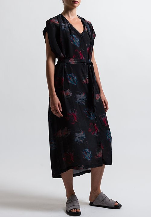 Anntian Long Shawly Shirt Dress in Print Ooo