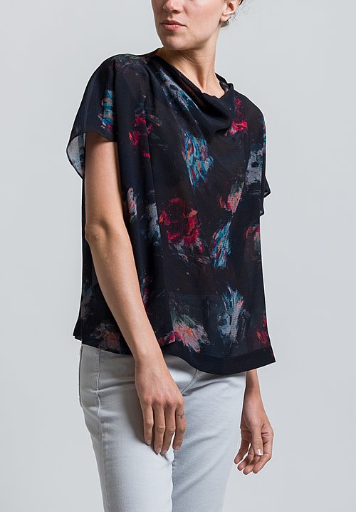 Anntian Simple Silk Top in Print Ooo