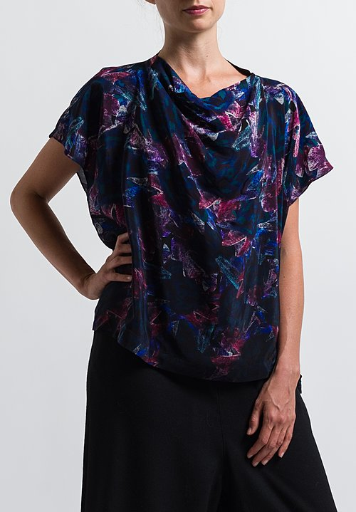 Anntian Simple Silk Top in Print F