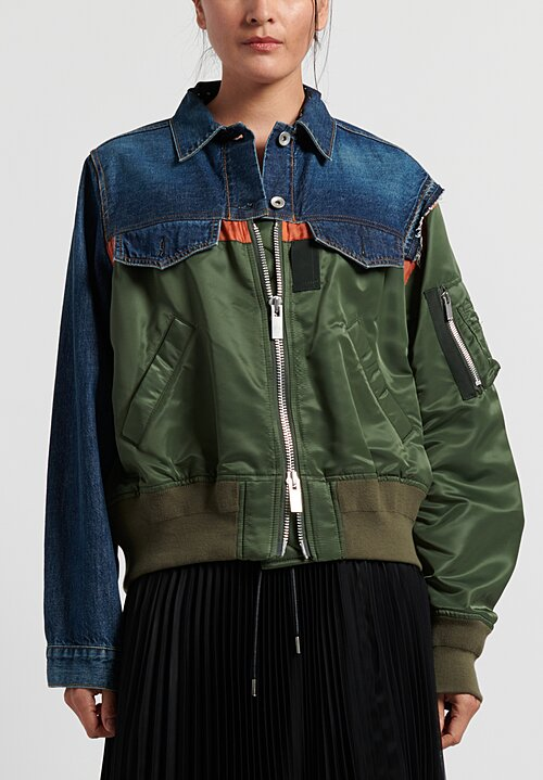 Sacai Denim x MA-1 Bomber Jacket in Blue/Khaki
