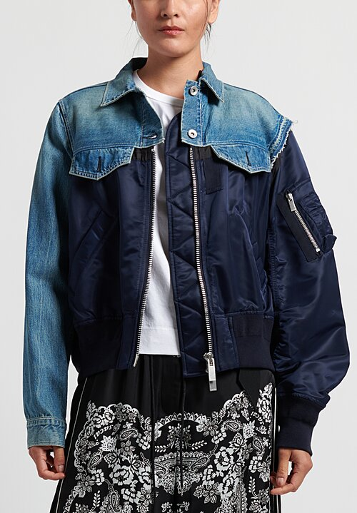 Sacai Denim x MA-1 Bomber Jacket in Blue/Navy