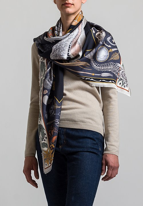 Sabina Savage Silk Twill Alligator's Empire Scarf in Midnight / Steel
