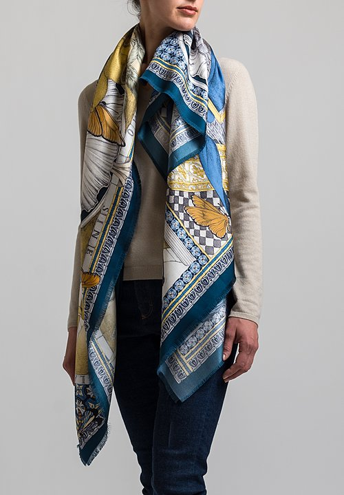 Sabina Savage Silk Twill Aviarium Maria Scarf in Indigo / Ochre