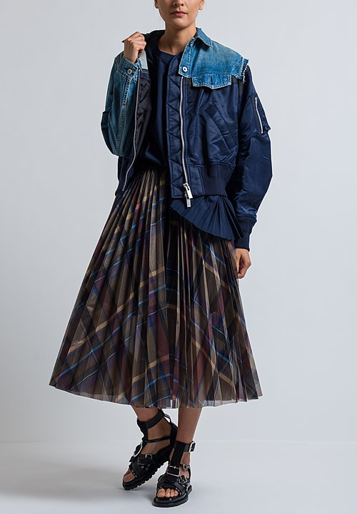 Sacai Pleated Check Wrap Skirt in Brown/ Blue