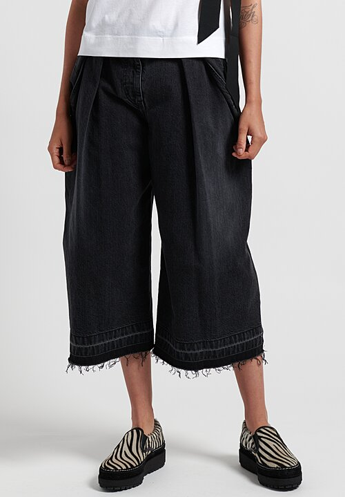 Sacai Cropped Denim Pants in Black/Navy