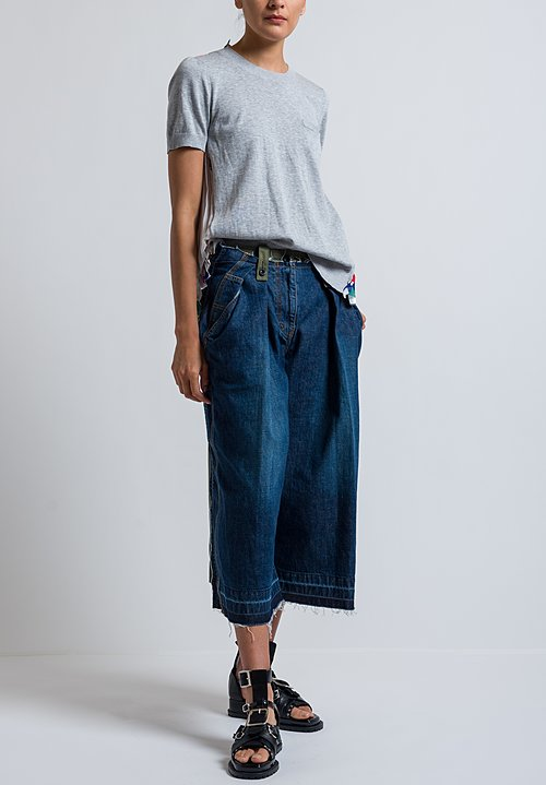 Sacai Cropped Denim Pants in Blue/ Khaki