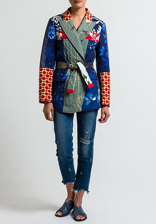 Etro Runway Quilted Patchwork Blazer in Blue
