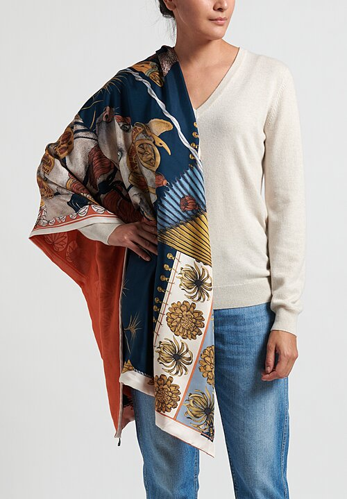 Sabina Savage Silk Twill and Cashmere Backed Spoonbill and Jindo Scarf in Indigo / Chilli
