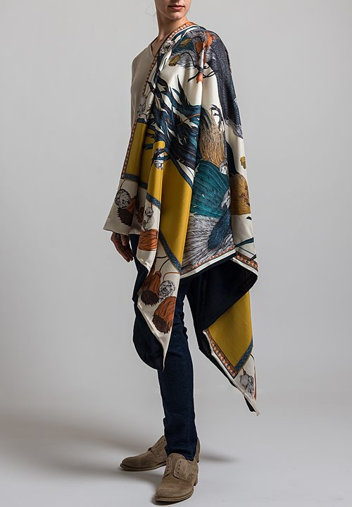 Sabina Savage Silk Twill and Cashmere Backed Rooster's Dance Scarf in Amber/ Sand