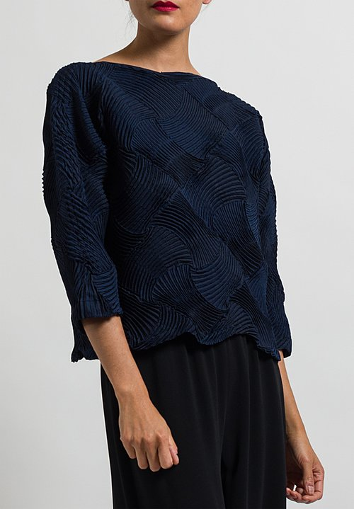 Issey Miyake Pleated Lattice Top in Navy