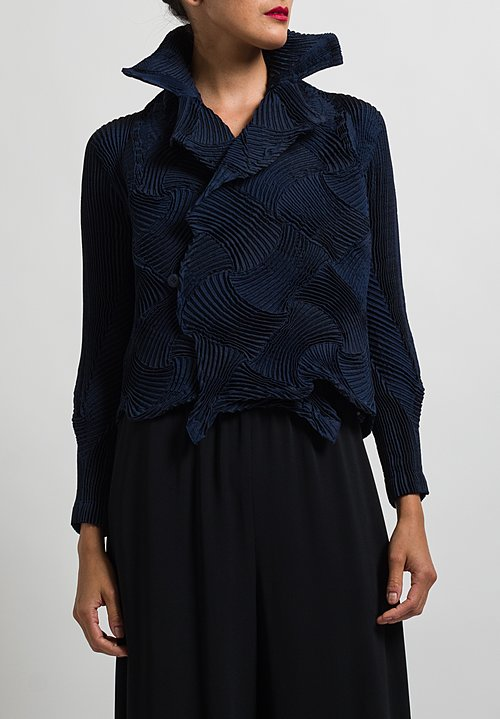 Issey Miyake Pleated Lattice Jacket in Navy