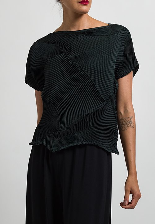 Issey Miyake Cross Stream Pleated Top in Forest