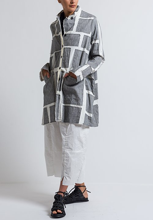 Rundholz Striped Patchwork Coat in Off White