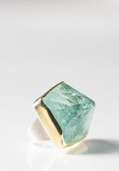 Margoni 18K and Sterling Silver Large Aquamarine Ring