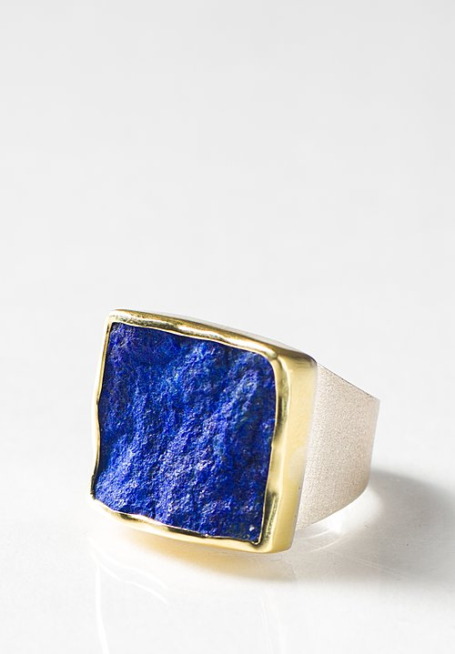 Margoni 18K and Sterling Silver Rough Lapis Ring