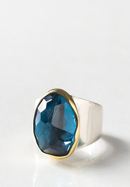 Margoni 18K, Silver, London Blue Topaz Ring