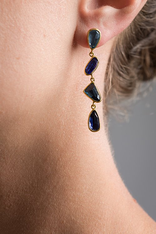 Margoni 18K, Aquamarine, Tanzanite, L.B Topaz, and Lolite Earrings