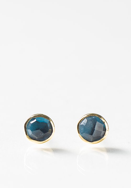 Margoni 18K, Silver, London Blue Topaz Studs