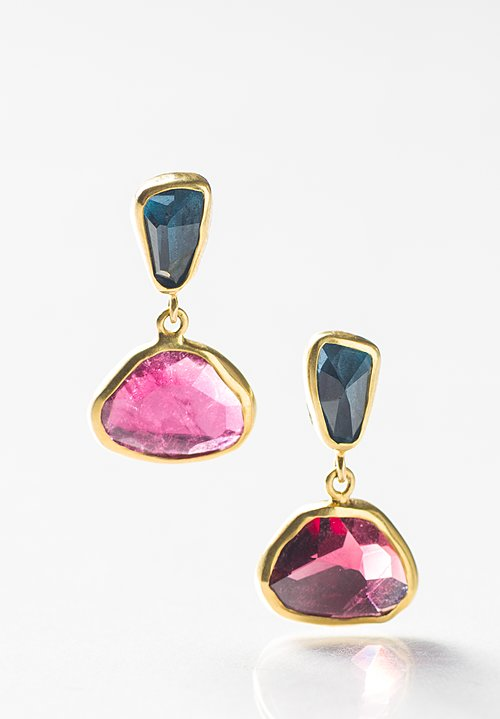 Margoni 18K, L.B Topaz and Tourmaline Earrings